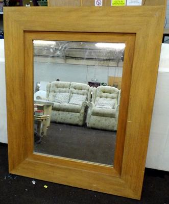 Teak framed mirror -  approx. 43 x 36 inches