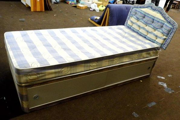 Single divan bed & mattress with headboard