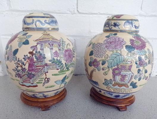 Pair of Japanese vases - ready for lamp conversion
