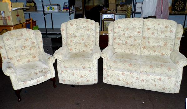 2 seater settee, armchair & fireside chair