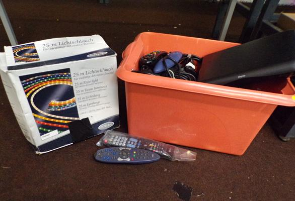 Box of mixed cables, remotes, Sky HD, LED rope etc.