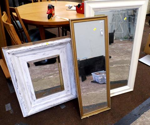 3 x rectangular wooden framed mirrors