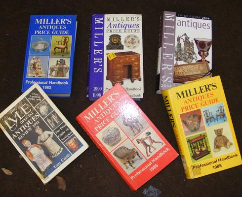 Box of antique books, Millers & Lyles