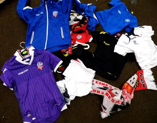 Box of Football scarves, shirts etc. - children's sizes