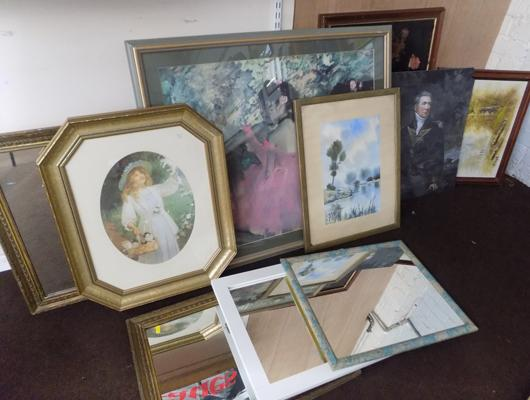 Collection of framed artwork; painting prints and framed mirrors