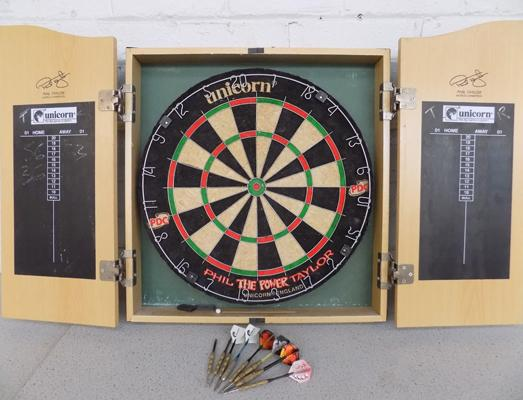 Pro-dart board in wooden case and darts - suitable for pub/ club