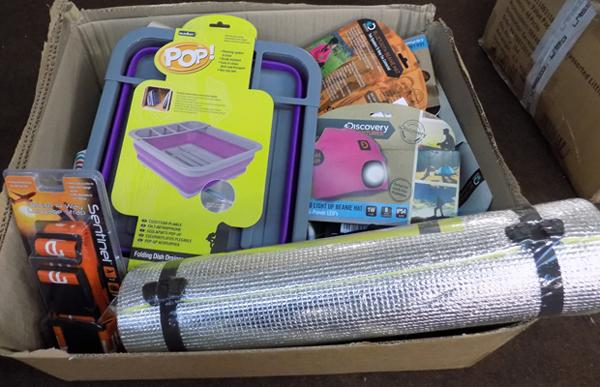Large box of new outdoor items