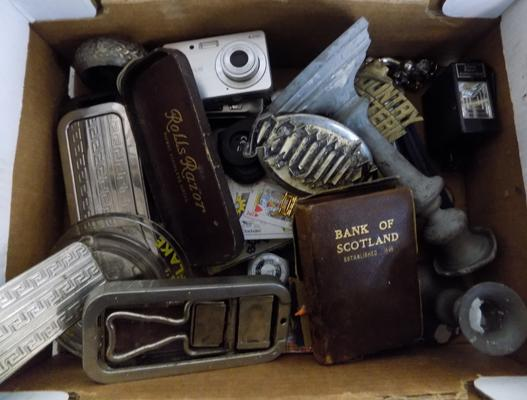 Box of collectables incl. 1950's belt buckles, lighters, watches, 2x Fuji digital cameras etc.