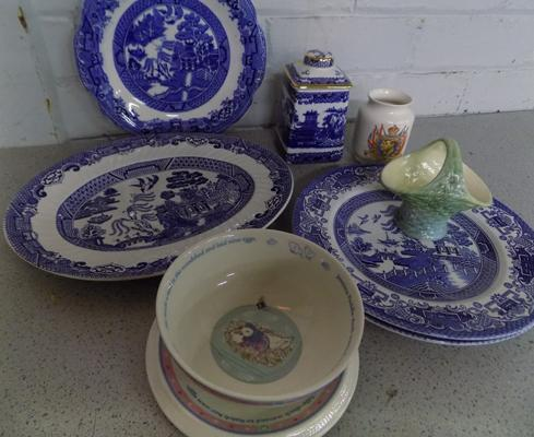 Blue & White china incl. Wade & Wedgwood, Beatrix Potter nursery ware + Sylvac etc... - all good condition