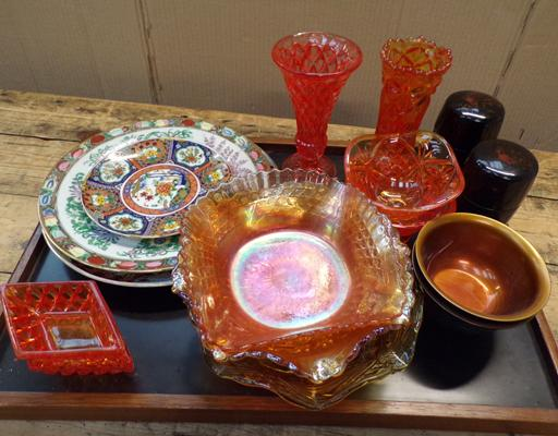 Vintage coloured glassware and oriental items