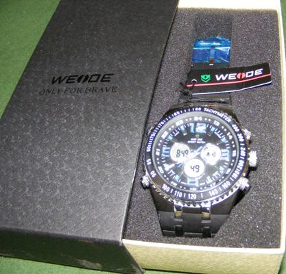 Weide large face watch with blue numbers