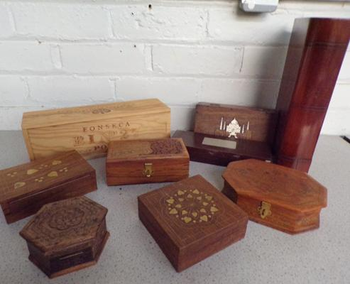 8x Wooden boxes incl. Bible box dated 1868