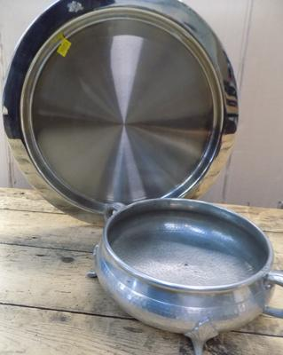 Large hand beaten pewter dish with stainless steel tray