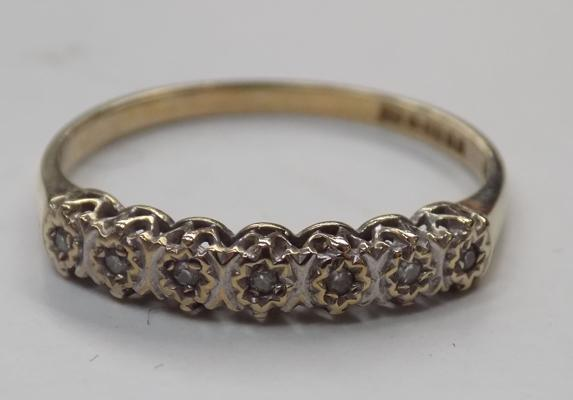 9ct gold diamond 1/2 eternity ring - size N 1/2