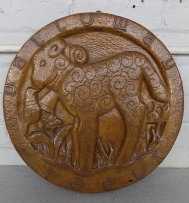 Carved oak plaque, Galloway Reels - approx. 17.5 inches in diameter