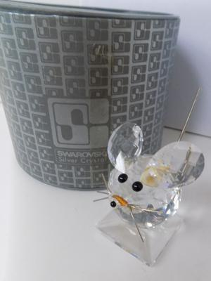 Swarovski crystal large mouse in original box - with repairs