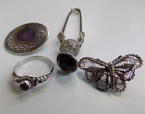 Selection of white metal items