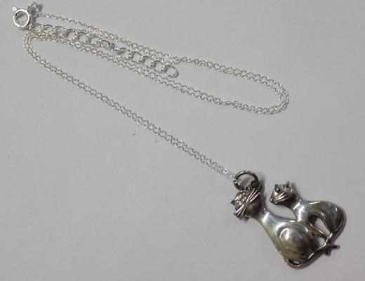 Silver cat pendant on silver chain