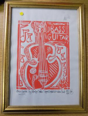 Signed framed limited edition guitar print by Martin Smiles, 18/500
