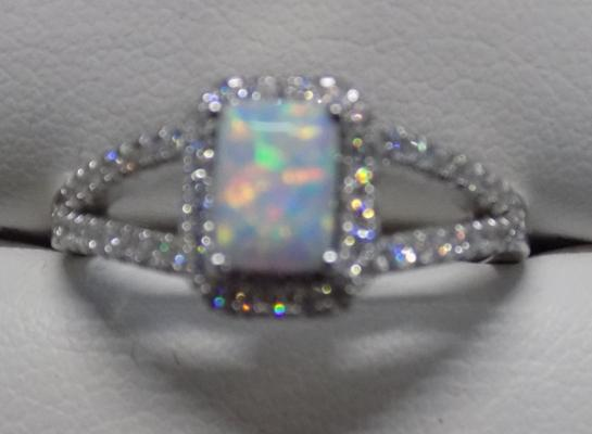 Silver & opal ring