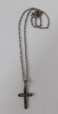 Vintage marcasite silver cross on silver chain