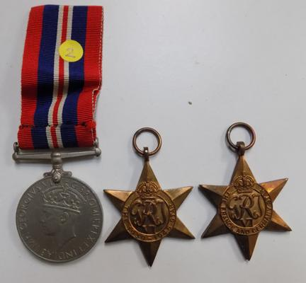 World War II medal and 2 stars