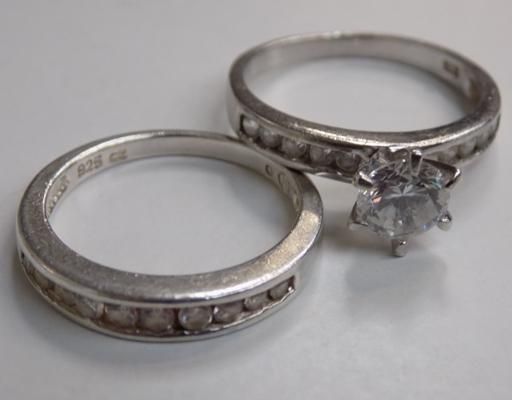 2 x silver rings - stamped 925