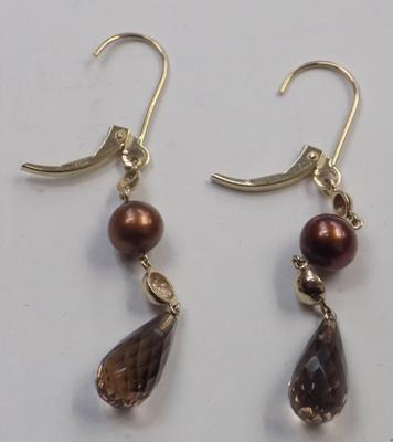 10ct gold and smokey quartz lever back earrings