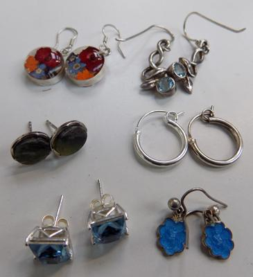 Selection of silver earrings - all stamped 925