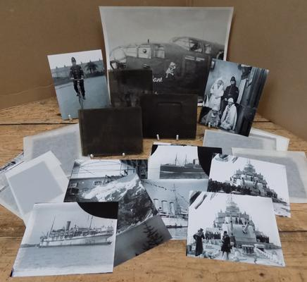 Collection of vintage photographic glass slides, incl. military etc... - also incl. prints made from the slides