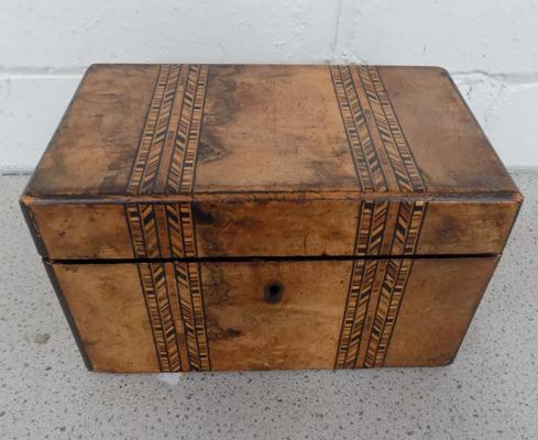 Antique tea caddy with marquetry inlay