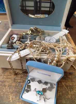 Jewellery box with costume jewellery inc Pava shell brooch