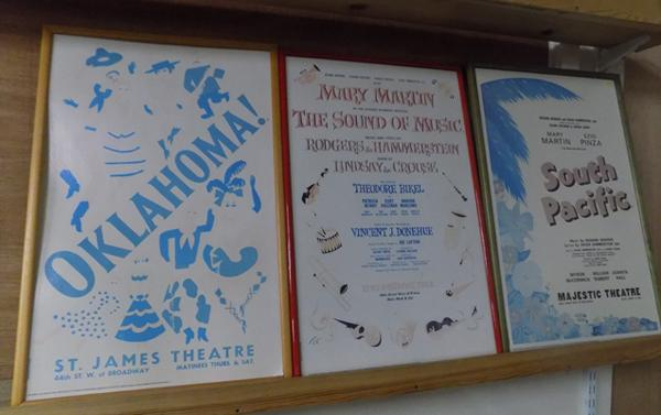 Three vintage film posters, Oklahoma, Sound of Music, Broadway, South Pacific