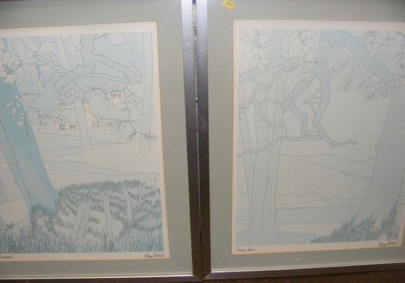 Pair of line sketch art pictures/ drawings - signed