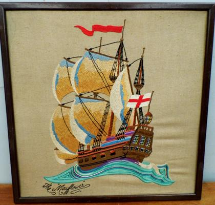 Framed embroidery of The Mayflower