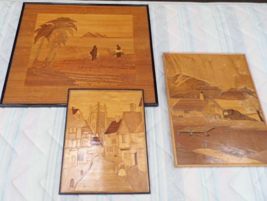 3 x Marquetry pictures