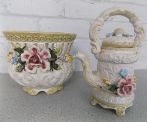 Two Capodimonte ornate jugs + bowl - slight damage to some petals
