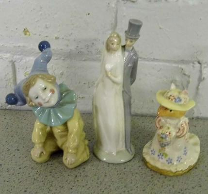 Two Nao figures (clown with repair) + Royal Doulton puppy Everbright (small nibble on hat)