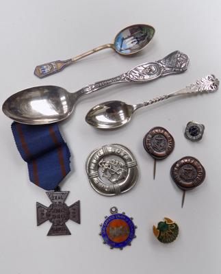 Assortment of pin badges and collectable spoons