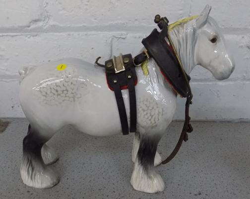Beswick shire mare with harness, No. 818, designer Arthur Gredington, issued 1974-1982 - approx. 8.5 inches tall