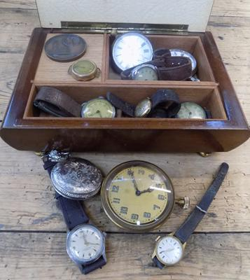Collection of vintage watches & pocket watches in musical box +medal