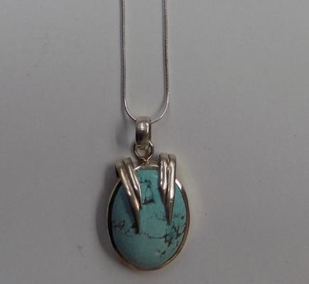 Heavy 925 silver and turquoise pendant on silver chain