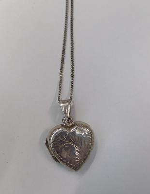 Silver heart locket on silver chain-boxed