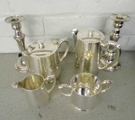 Pair of silver plated candlesticks and EPNS tea set