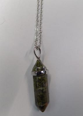 Mossgate crystal pendant point necklace-boxed