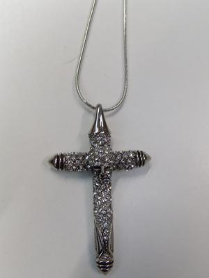 Large CZ encrusted skull & cross pendant necklace-boxed