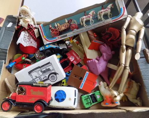 Box of 1970s vintage toys + diecast
