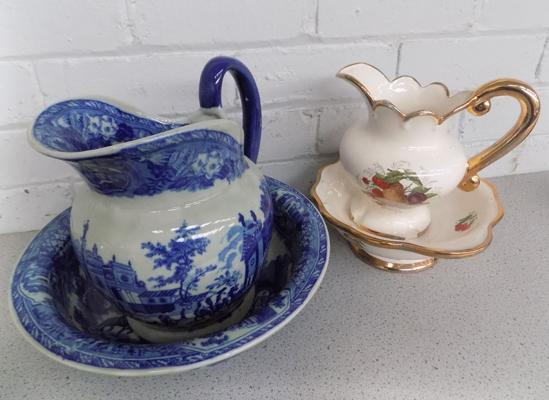 Heavy weight wash jug and bowl, blue and white scene and 1 other