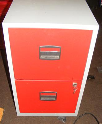Small two drawer filing cabinet with key
