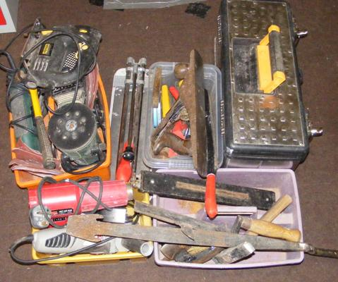 Large assortment of tools, hand tools, jigsaw etc...